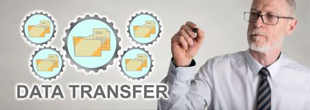 Businessman drawing data transfer concept stock photography