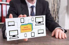 Data transfer concept on an index card. Businessman showing an index card with data transfer concept Royalty Free Stock Images