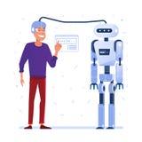 Data transfer from human brain to robot. vector illustration