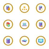 Data transfer icons set, cartoon style. Data transfer icons set. Cartoon set of 9 data transfer vector icons for web isolated on white background Royalty Free Stock Image