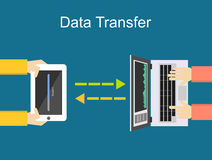 Data transfer illustration. Communication between two devices. Royalty Free Stock Image