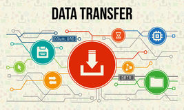 Data transfer infographic with icons and chart.  Royalty Free Stock Photo