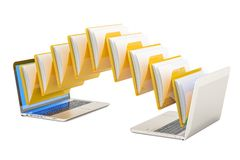 Data transfer between laptops, 3D rendering. Isolated on white background Stock Photo