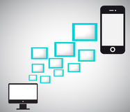 Data transfer from mobile phone to PC. Stock Image