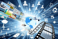 Data transfer in multimedia sharing concept Royalty Free Stock Images