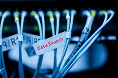 Data transfer by optical fibre on core network switch tagging wi. Th word DATA BREACH. selective focus shot royalty free stock image