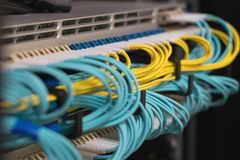 Data transfer by optical fibre information technology royalty free stock photo