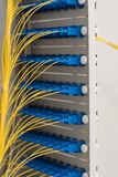 Data transfer by optical fibre information technology stock photo