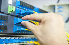 Data transfer by optical fibre Royalty Free Stock Image