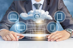 Data transfer to the cloud . Data transfer to the cloud on a virtual screen royalty free stock photo