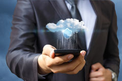 Data transfer to the cloud from your phone . Royalty Free Stock Images