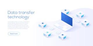 Data transfer via server isometric vector illustration. Abstract