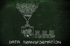 Data transformation, factory processing binary code Royalty Free Stock Photography