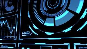 Data Transmission and Digital Transformation Screen HUD with Details in Blue color including digital elements Camera Panning