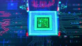 Data transmission through a virtual computer processor. Future technology. Closeup. Top view. 4K