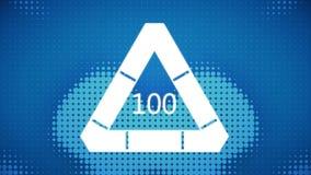 Data triangle downloading. Digitally generated image of data triangle downloading from 0 to 100 on blue retro background stock illustration