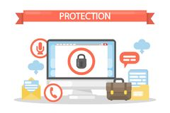 Data under protection. Idea of personal information safety Royalty Free Stock Photos