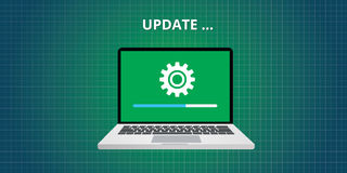Data update or synchronize with bar process. Vector flat Stock Photography
