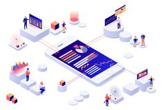 Data visualization 3d isometric concept.  People interacting with charts and analyzing statistics vector vector illustration