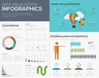Data visualization infographic vector for start up pies and bars Royalty Free Stock Photography