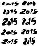 2015 data w czarnych organicznie rzadkopłynnych chrzcielnicach nad bielem Fotografia Stock