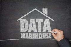 Data warehouse concept on blackboard Stock Photo