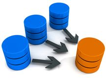 Data warehouse operations. Copy and move data or merge data in a data warehouse Royalty Free Stock Images