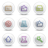 Data web colour icons, white circle buttons Stock Image