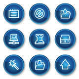 Data web icons, blue circle buttons Stock Photography