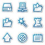 Data web icons, blue contour sticker series Stock Photos