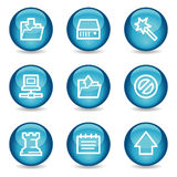 Data web icons, blue glossy sphere series Stock Photo
