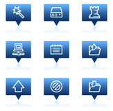 Data web icons, blue speech bubbles series Royalty Free Stock Image
