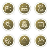 Data web icons,  brown circle buttons series Stock Photography