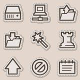 Data web icons, brown contour sticker series Stock Photo