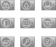 Data web icons, glossy circle buttons Stock Photos