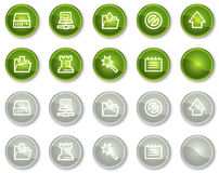Data web icons, green and grey circle buttons Royalty Free Stock Photo
