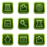 Data web icons, green square buttons series Royalty Free Stock Images