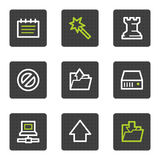 Data web icons, grey square buttons series Stock Image