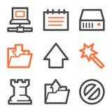 Data web icons, orange and gray contour series. Vector web icons, orange and gray contour series