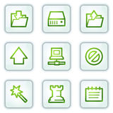 Data web icons, white square buttons series Stock Photo