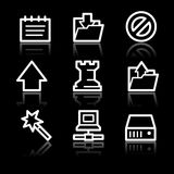 Data white contour web icons V2 Stock Images