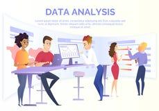 Dataanalys Team Cartoon Vector Concept vektor illustrationer