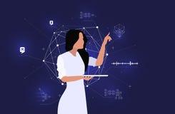 Dataanalytikeren modellerar ett intelligent system Stor data- och modellerkännande arkivfoton