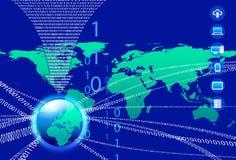 Databakgrund - teknologiström för binär kod Royaltyfri Bild