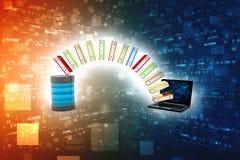 Databas eller arkivbegrepp Datalagring, dela för data 3d framför royaltyfri illustrationer
