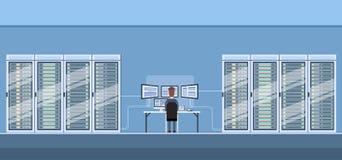 Databas för varande värd server för rum för funktionsduglig datorhall för man teknisk stock illustrationer