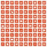 100 databas och apelsin för grunge för molnsymboler fastställd Arkivfoto