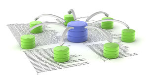 Database. A set of databases as concept for redundancy and data distribution Stock Images