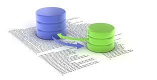Database. A set of databases as concept for redundancy and data distribution Stock Image