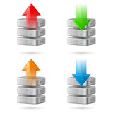 Database. Icon Set of Computer Database with Upload and Download Arrows Royalty Free Stock Image
